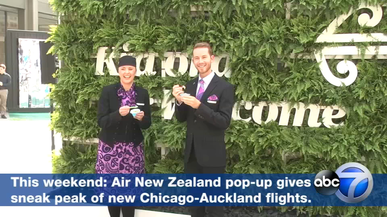 Air New Zealand shows off its unique flying experience at Pioneer Court this weekend ahead of its Chicago-Auckland direct flight debut this November.