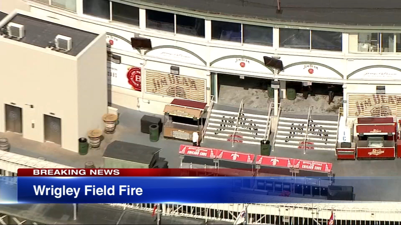 A fire caused damage to a concession stand Thursday afternoon at Wrigley Field.