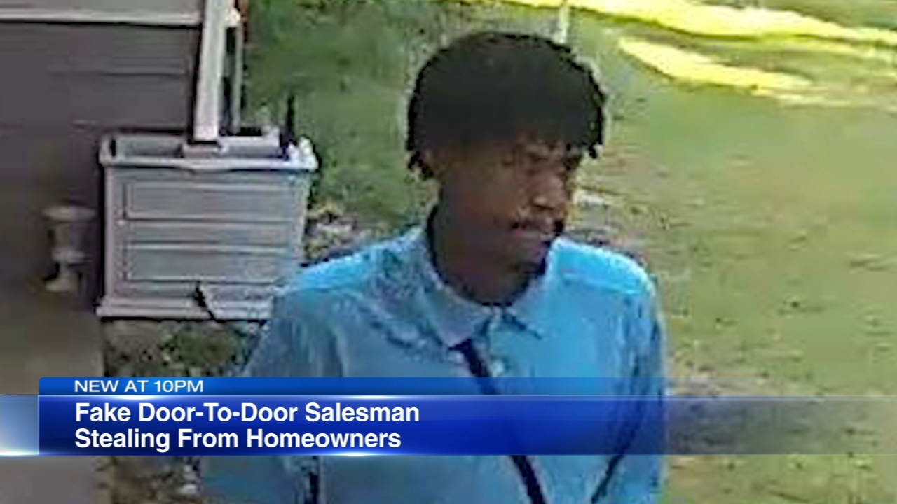 The Will County Sheriffs office is looking for a man who has been committing robberies while going door-to-door posing as a cleaning product salesman.