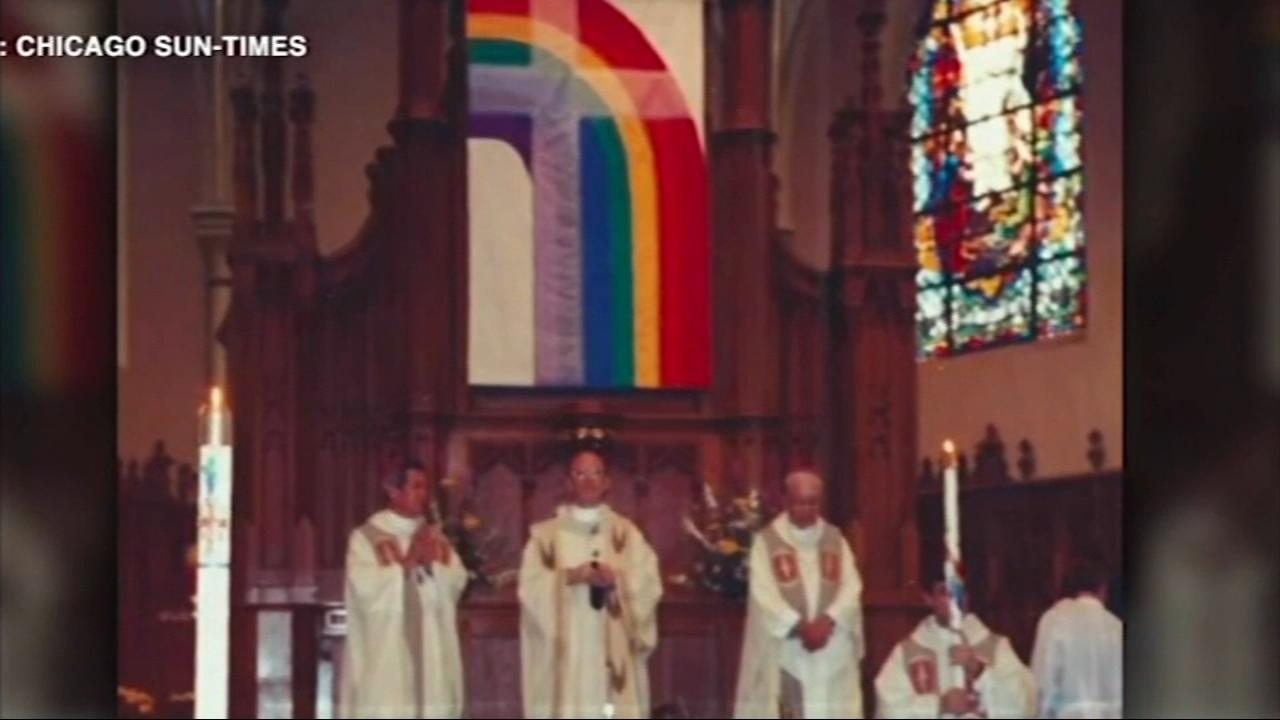 Paul Kalchik burned anLGBTQ flag along with a small group of Resurrection Catholic Church parishioners.