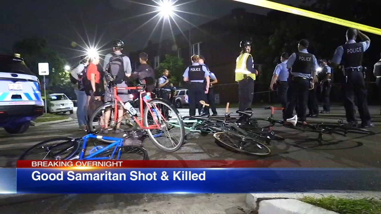 A man was fatally shot after trying to help a woman in a group bike ride who had just got hit by a car Tuesday morning, Chicago police said.