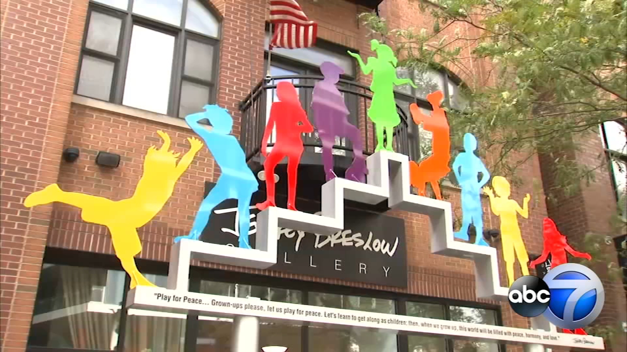 Artist Jeffrey Breslow installs Play for Peace  at 1015 W. Fulton Market, Chicago.