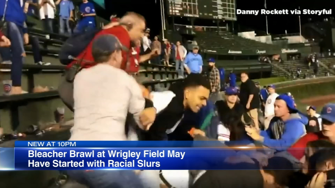 A brawl in the Wrigley Field bleachers that was caught on camera by a fan has gone viral.