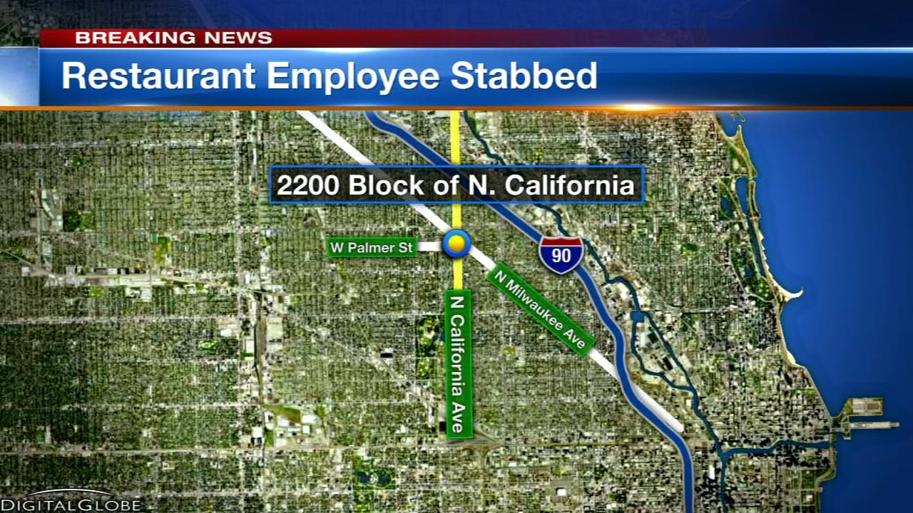An employee at a restaurant in Chicago's Logan Square neighborhood was stabbed Thursday morning.