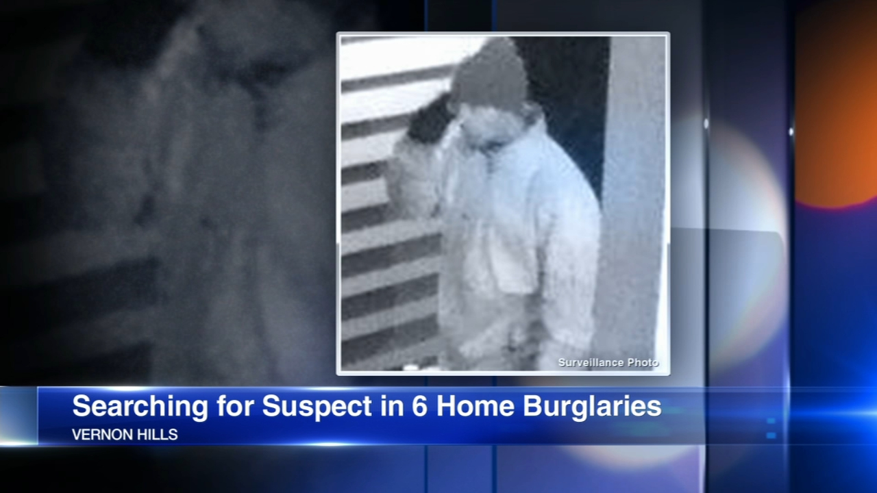 Vernon Hills police are looking for a man they believe to be connected to a rash of burglaries that occurred early Sunday.