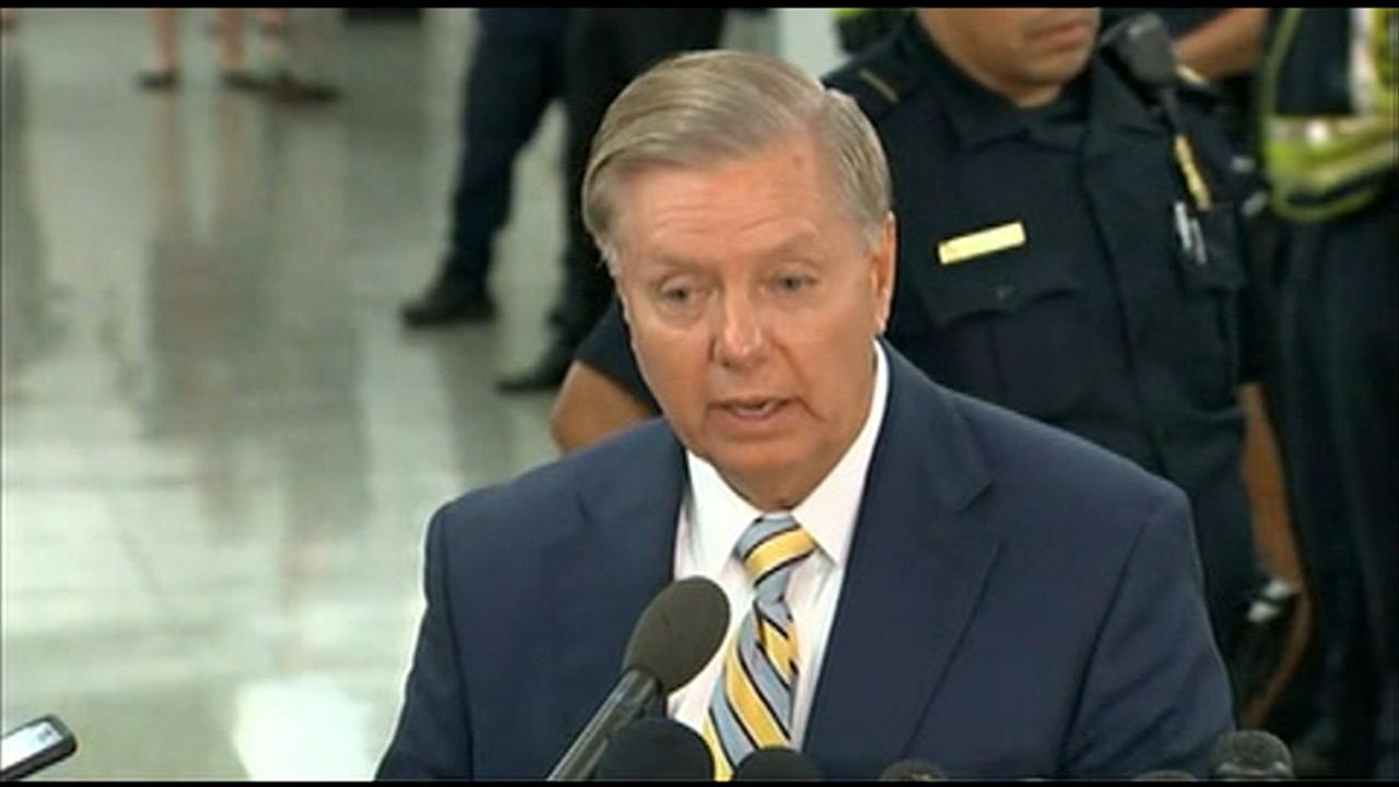 Senator Lindsey Graham, (R) South Carolina, spoke to the press after the Senate Judiciary Committee voted to advance Brett Kavanaughs U.S. Supreme Court nomination to the Senate f