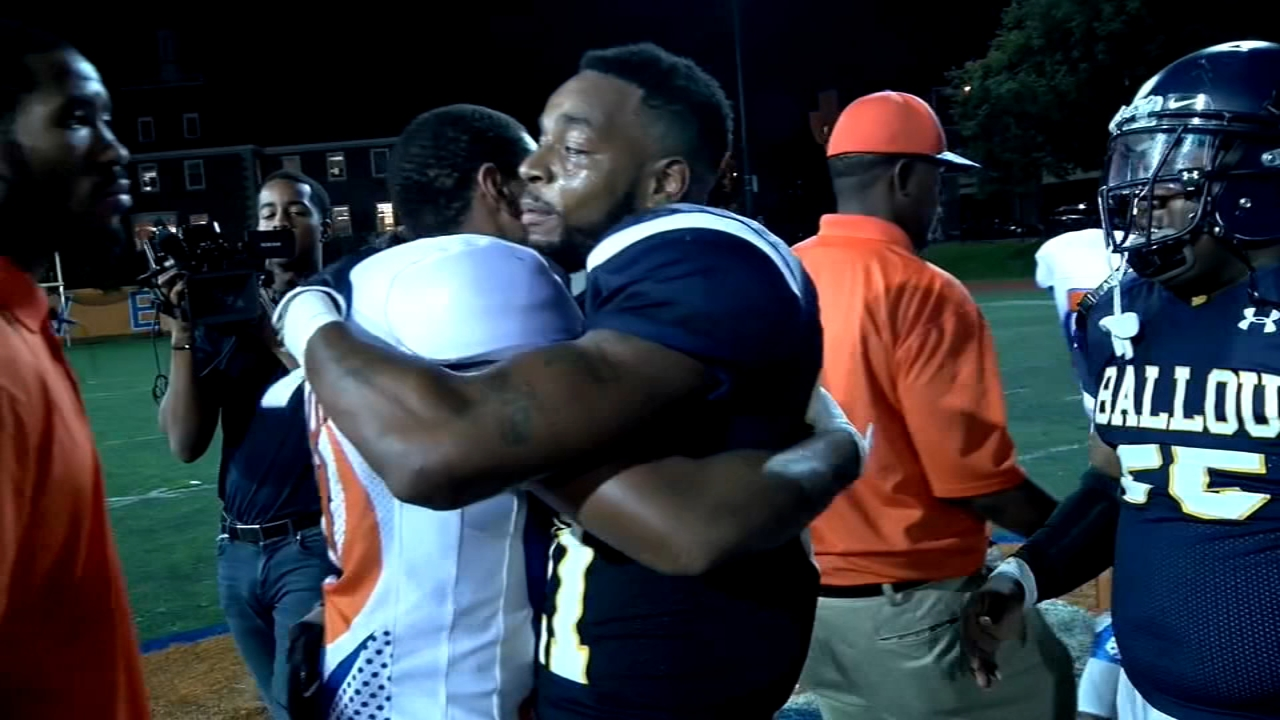 A formerly homeless high school football player lead his team to victory in the first game he played in two years.