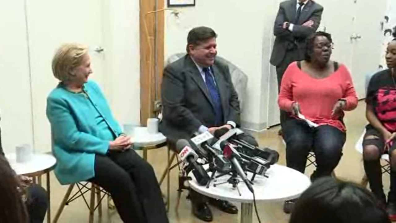 Hillary Clinton joined a round table discussion on leadership Monday with Pritzker, his running mate state Rep. Juliana Stratton and a group of high school women.