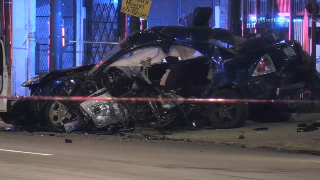 Chicago fire officials said seven people were injured, including children, in a multi-vehicle crash in Englewood Monday evening.
