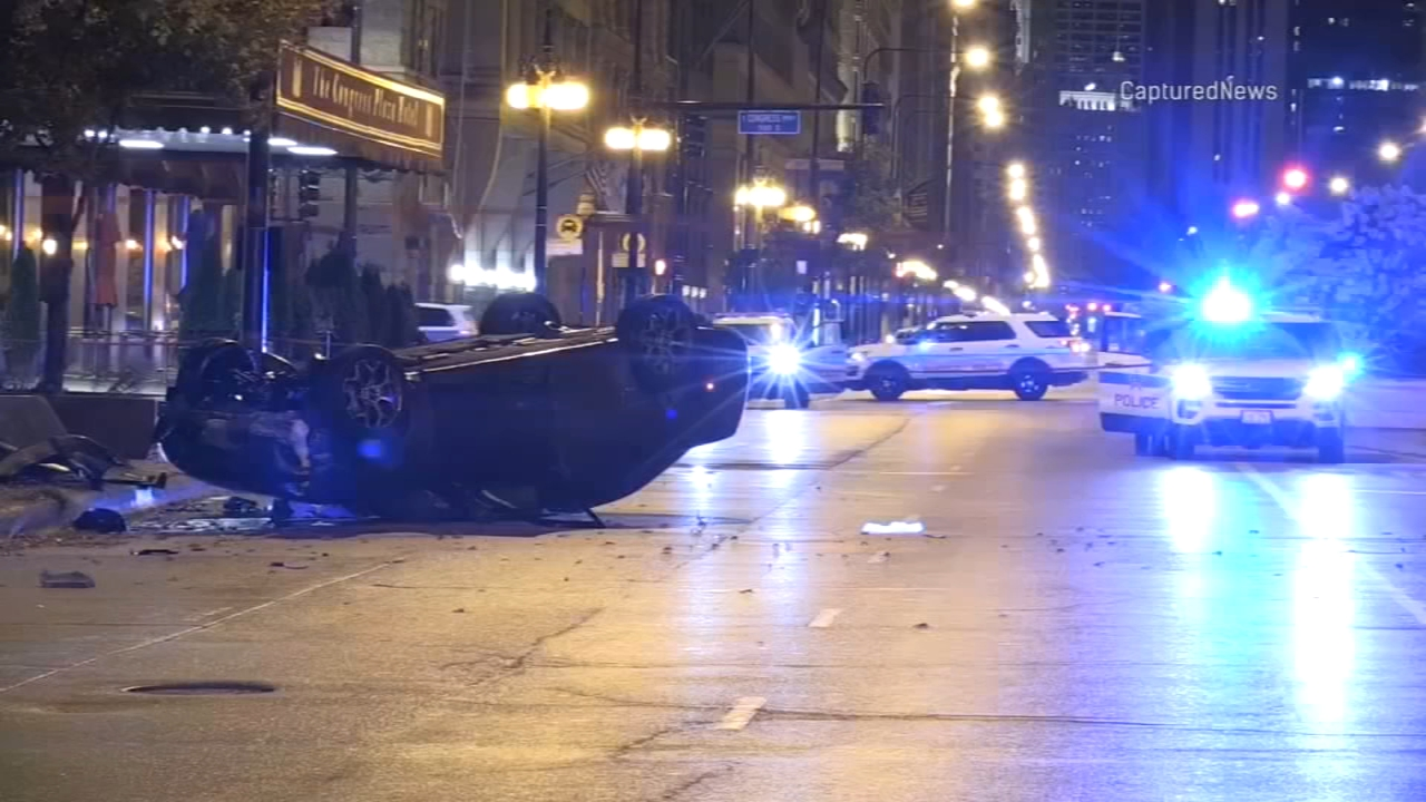 Four people were shot, two fatally, after a shooting inside a car that crashed in front of the Congress Plaza Hotel in the South Loop.