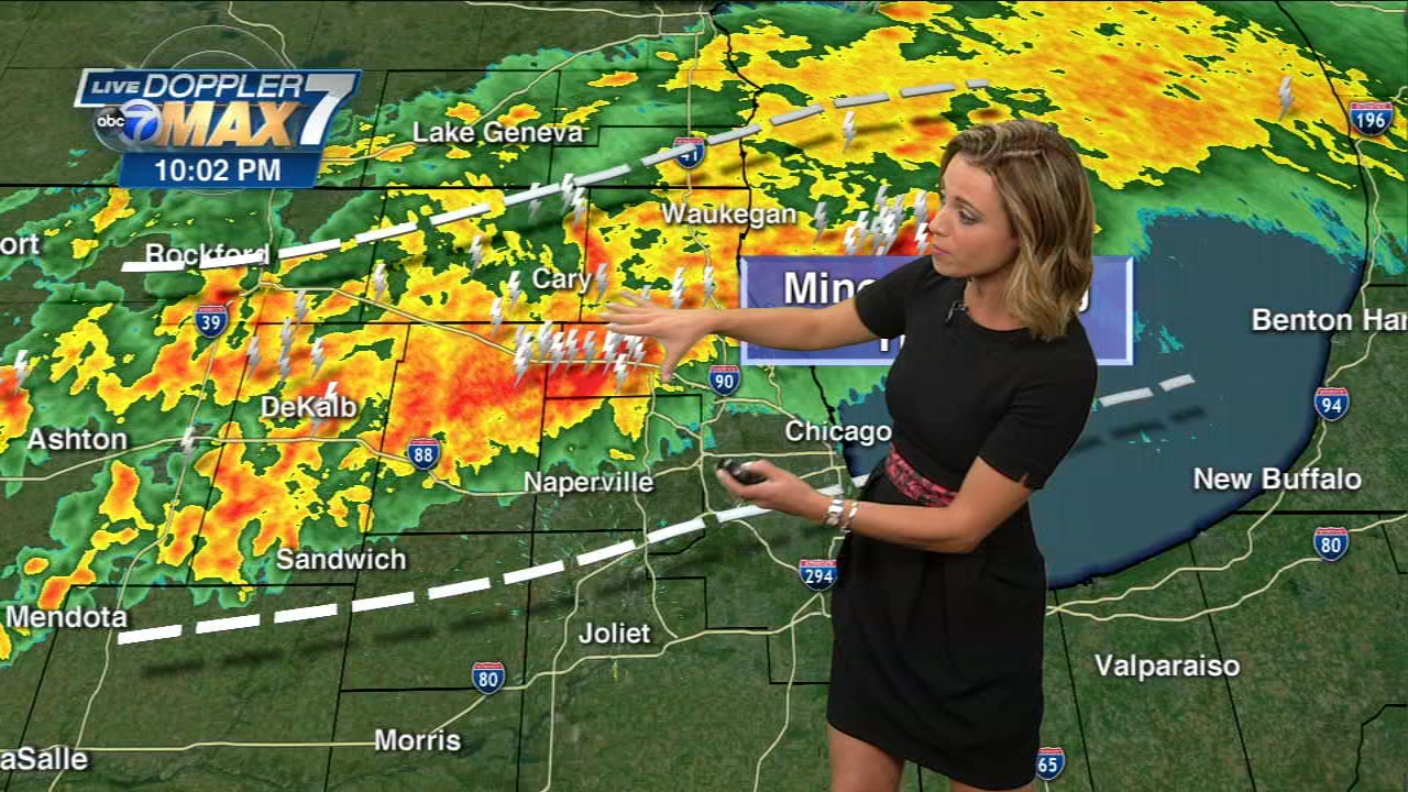 A line of strong storms is moving through the Chicago area Monday night.