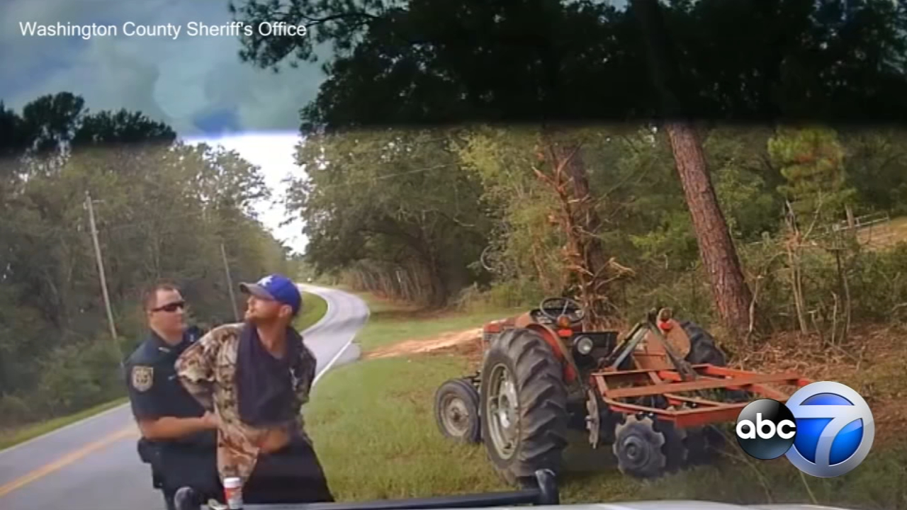 A Florida sheriffs deputy used a Taser on a man who became violent and tried to flee after he was pulled over while riding a tractor he allegedly stole from a 71-year-old man.