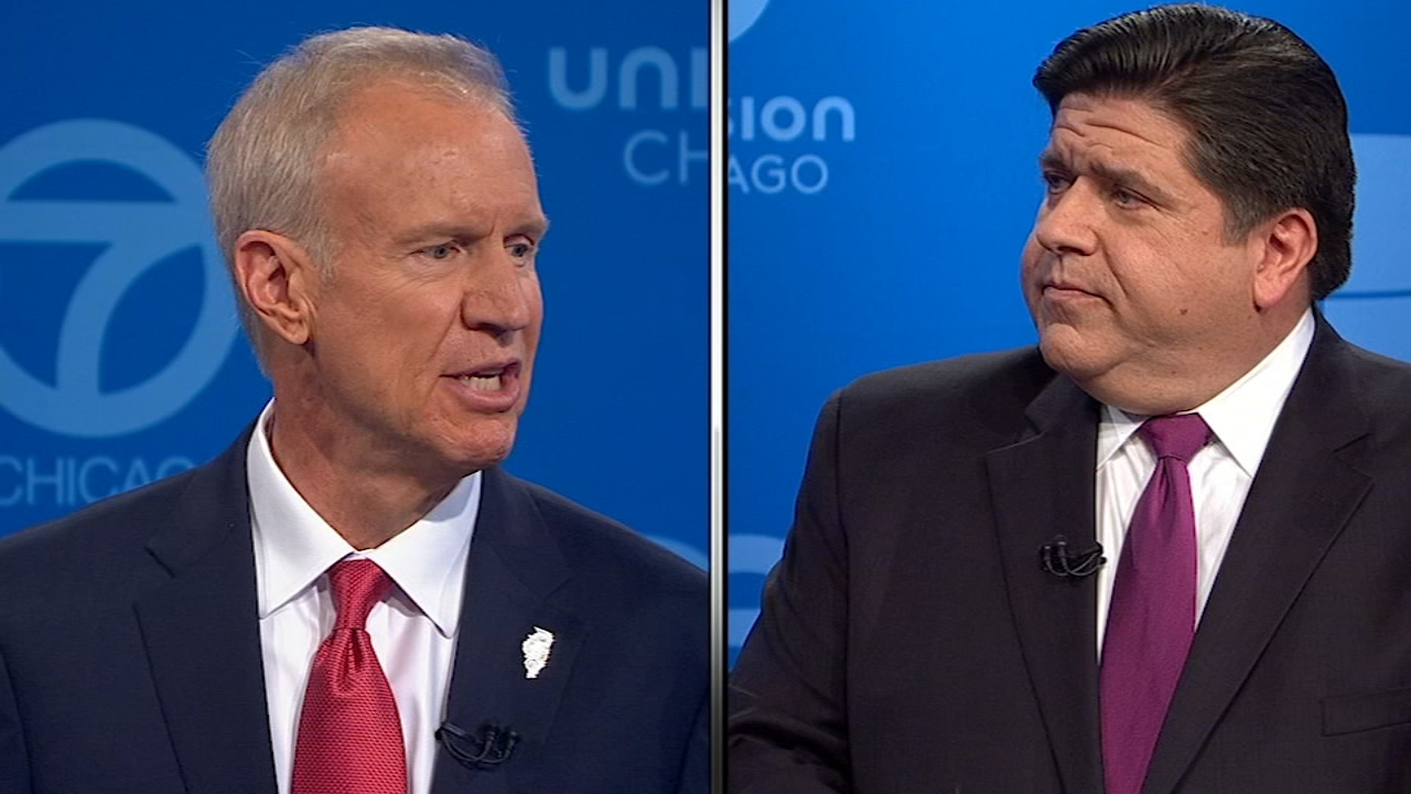 Illinois Governor Bruce Rauner and his Democratic opponent JB Pritzker faced off in a debate hosted by ABC7 and held in conjunction with the League of Women Voters Wednesday night.