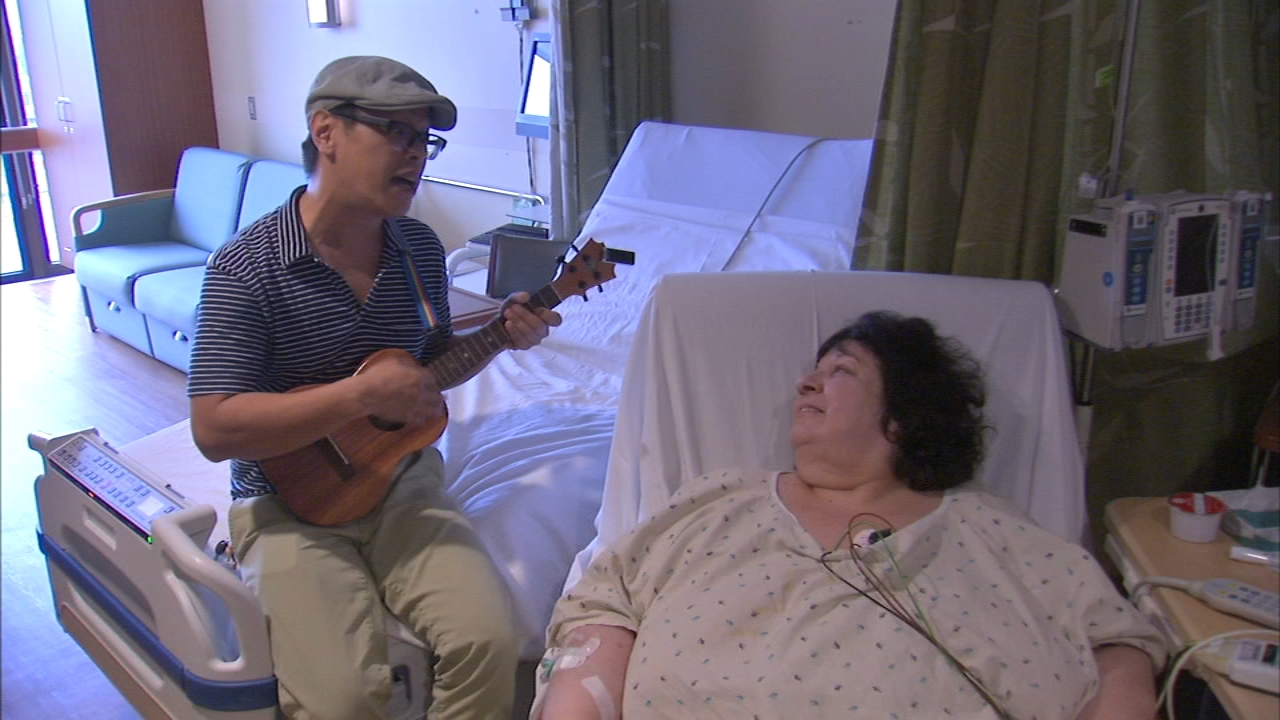 Walking through Advocate Illinois Masonic Medical Center, you may hear the bubbly sounds of a ukulele floating lightly down the hall. Thats thanks to 47-year-old Narciso Lobo, or