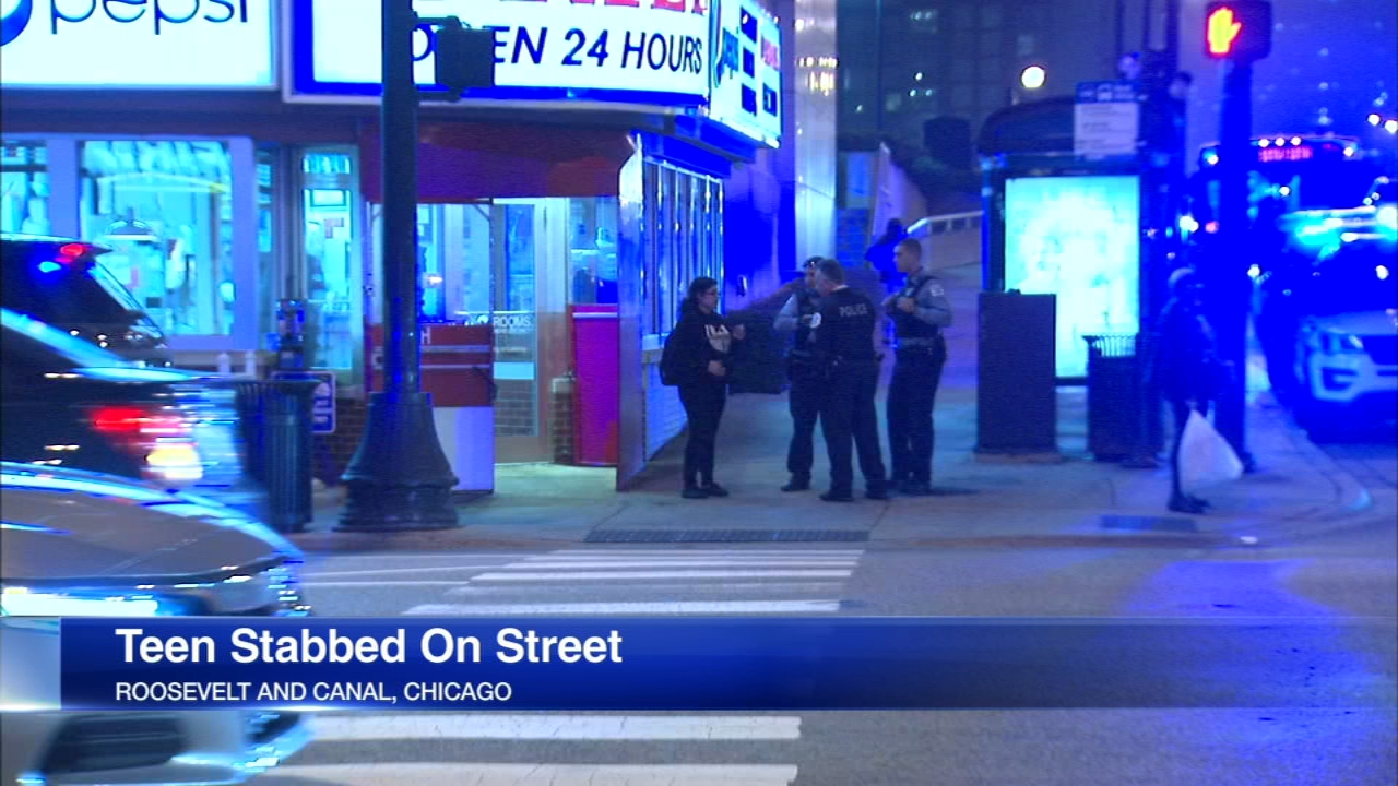 A teenager was stabbed in the neck in South Loop Friday.