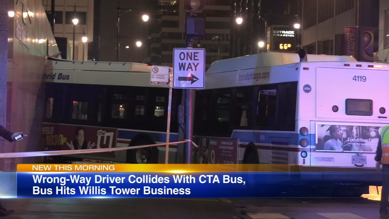 A wrong-way driver sent a CTA bus crashing into the Willis Tower early Saturday.
