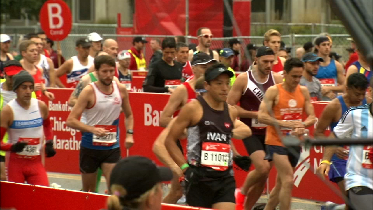 More than 40,000 runners from more than 100 countries are taking to the streets of Chicago Sunday.