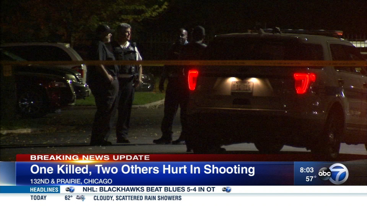 A man died and a woman and man were wounded in a shooting Saturday night during a memorial gathering on the Far South Side.