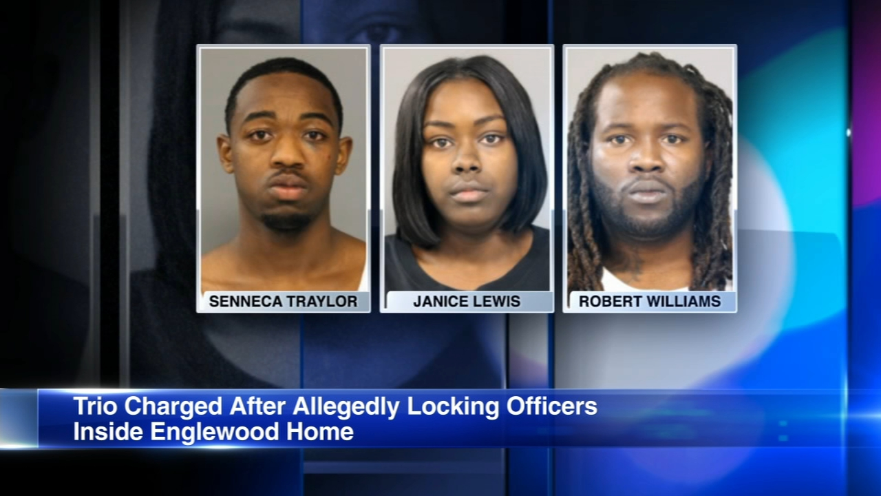 Three people allegedly attacked a trio of Chicago police officers and then locked them inside a South Side Englewood neighborhood home.