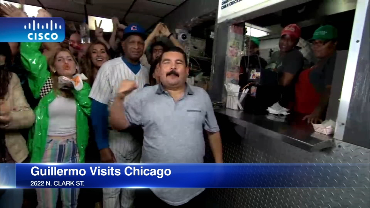Jimmy Kimmels sidekick Guillermo is eating his way across the country and Wednesday night he stopped for a Chicago dog at the Wieners Circle in Lincoln Park.