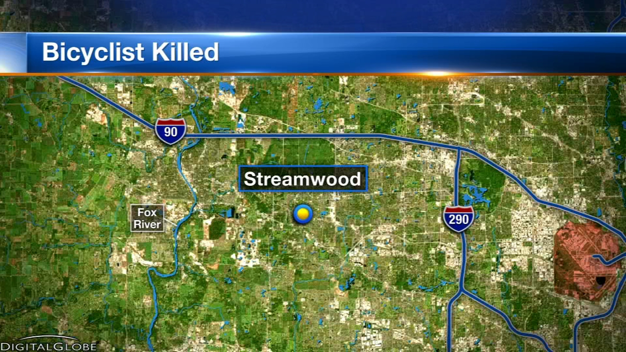 A man riding a bicycle was killed after being hit by a truck while crossing a street in Streamwood Tuesday night, police said.