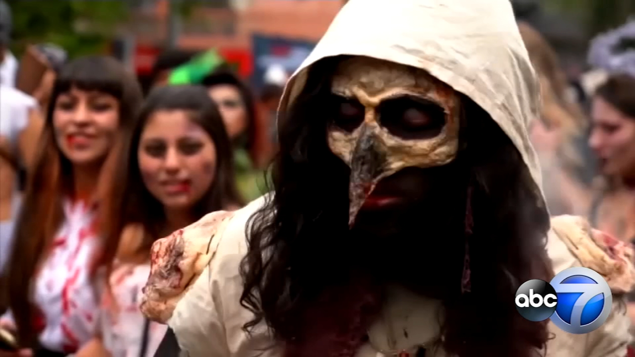 Hundreds of Chileans dressed as blood-thirsty zombies, took over the streets of Santiago on Saturday during the 10th annual Zombie Walk.