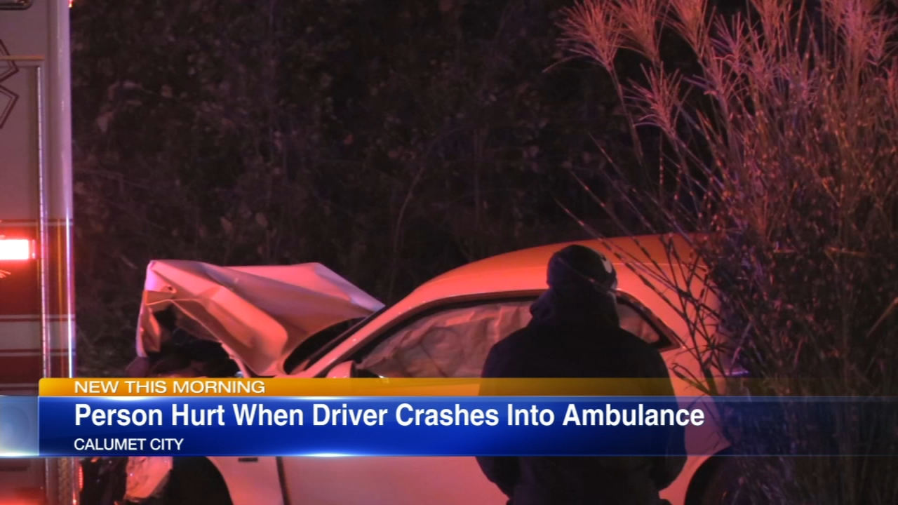 At least one person was injured Saturday night when an ambulance was struck while it was responding to the scene of another accident in south suburban Calumet City.