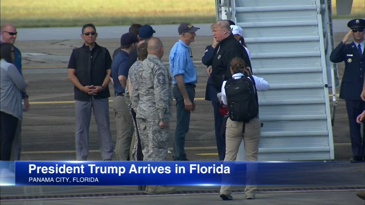 President Donald Trump and First Lady Melania Trump arrived in Florida Monday morning to visit areas hit hard by Hurricane Michael.