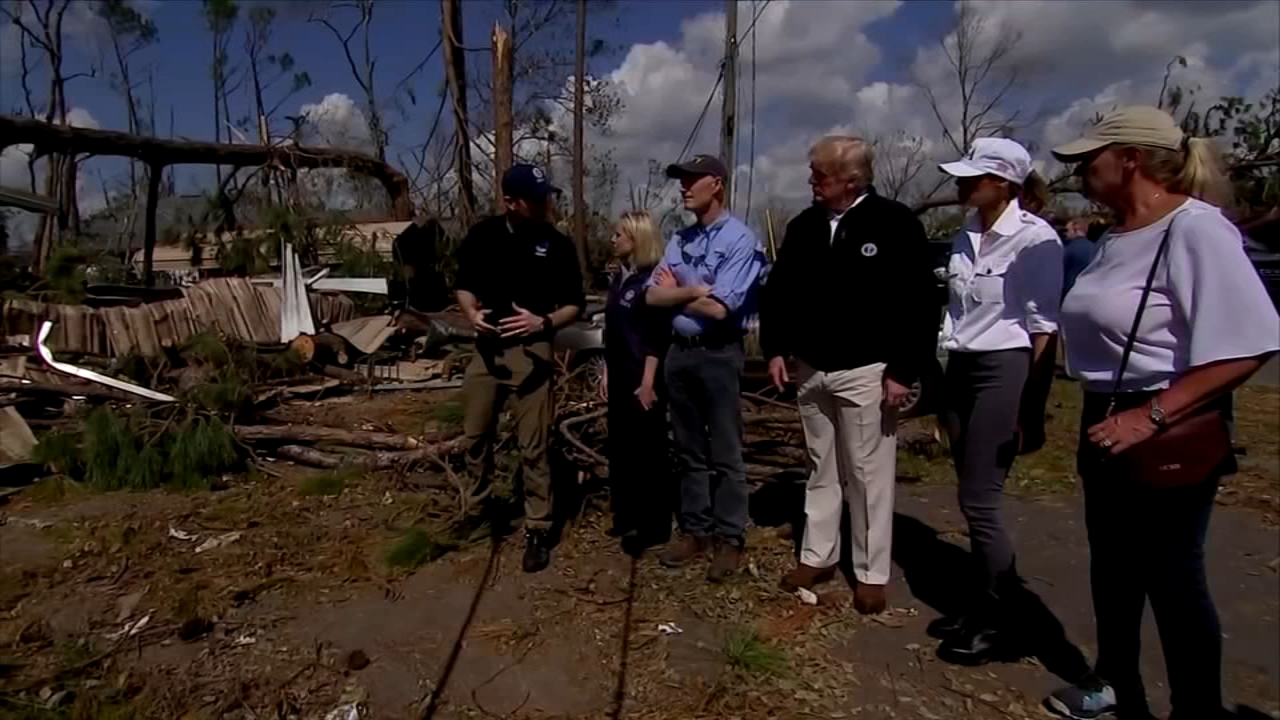President Donald Trump marveled at the roofless homes and uprooted trees he saw Monday while touring Florida Panhandle communities ravaged by the force of Hurricane Michael.