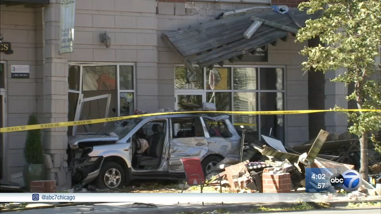 An SUV crashed into a building in Chicagos Edgewater neighborhood.