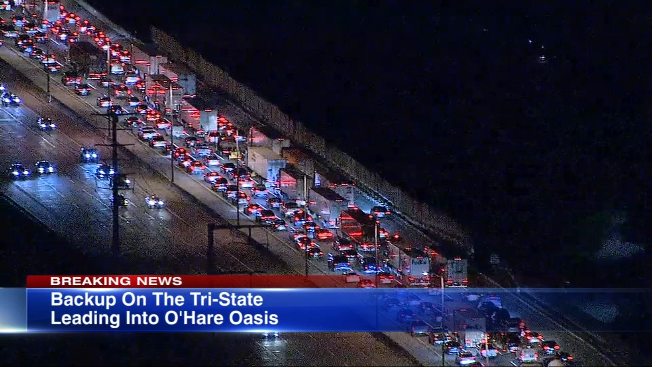 Construction that reduced the northbound Tri-State Tollway to one lane leading up to the O'Hare Oasis has caused a massive miles-long traffic backup Tuesday morning.