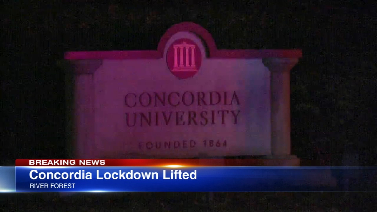 The lockdown at Concordia University Chicago in River Forest was lifted following a domestic violence incident, university officials said.