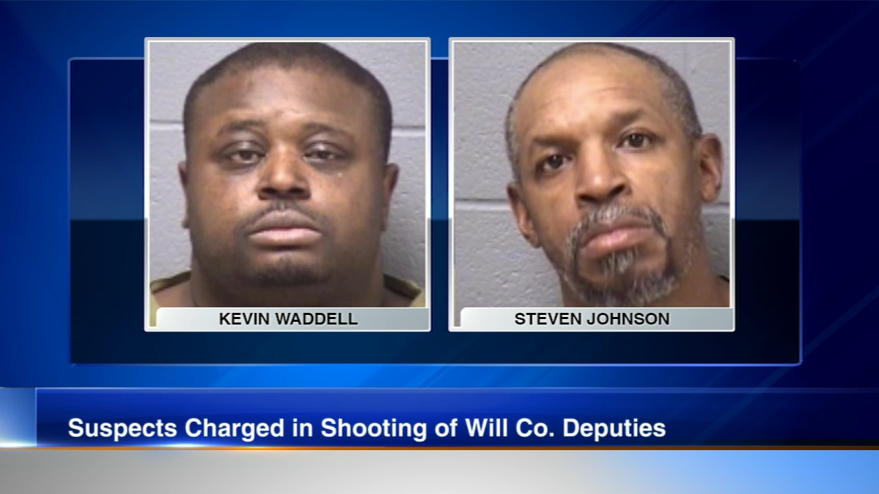 Charges have been filed against two Joliet men after a pair of Will County sheriffs deputies were shot while conducting a drug investigation Tuesday night in the southwest suburb.