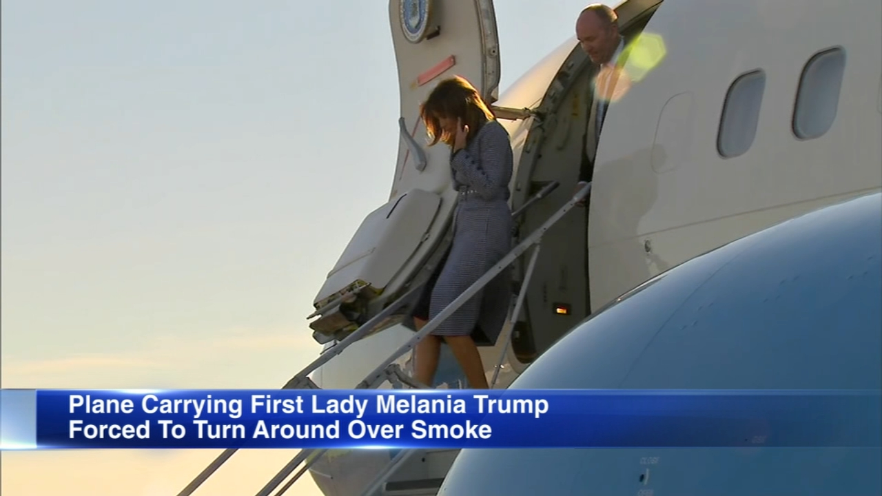 First lady Melania Trumps plane has landed in Philadelphia after being forced to return to a Washington area military base on Wednesday because of smoke in the cabin.