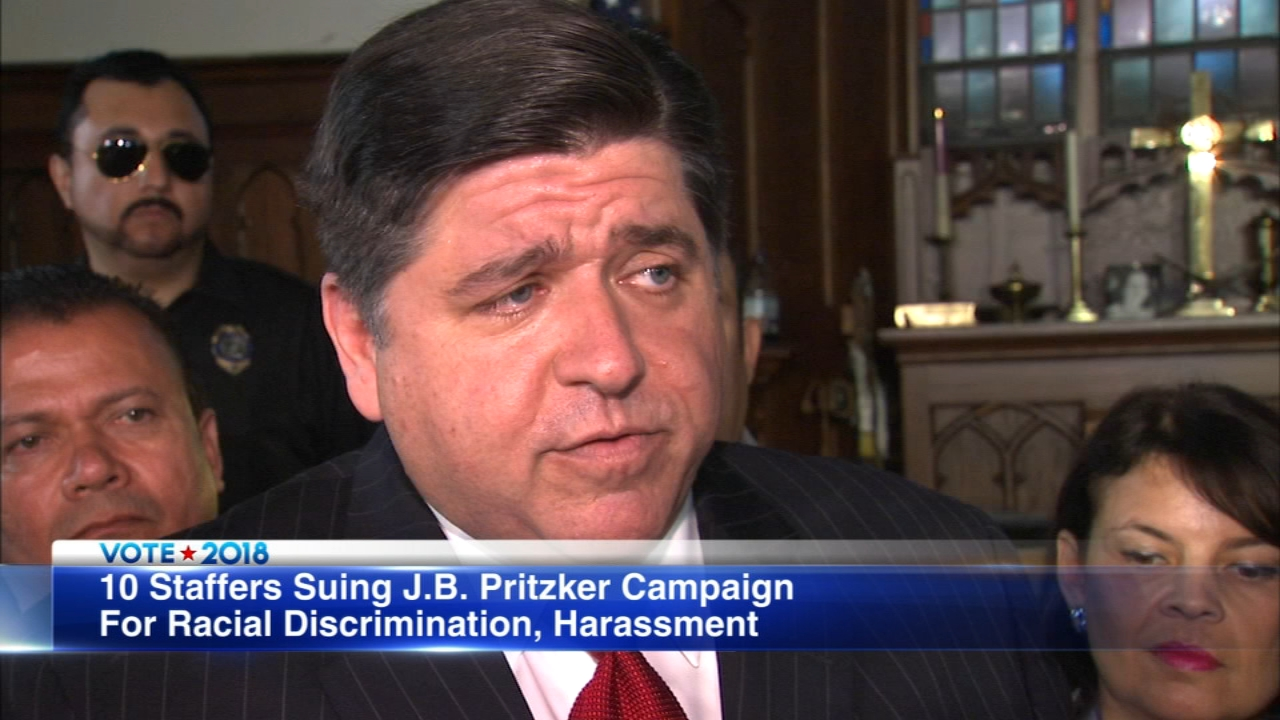 Ten campaign workers have filed a lawsuit against J.B. Pritzker accusing him of racial discrimination.