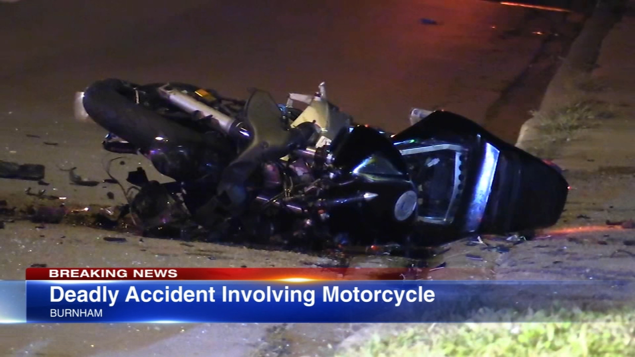 A man was killed and two other people critically injured in crash involving a car and motorcycle in south suburban Burnham Thursday.