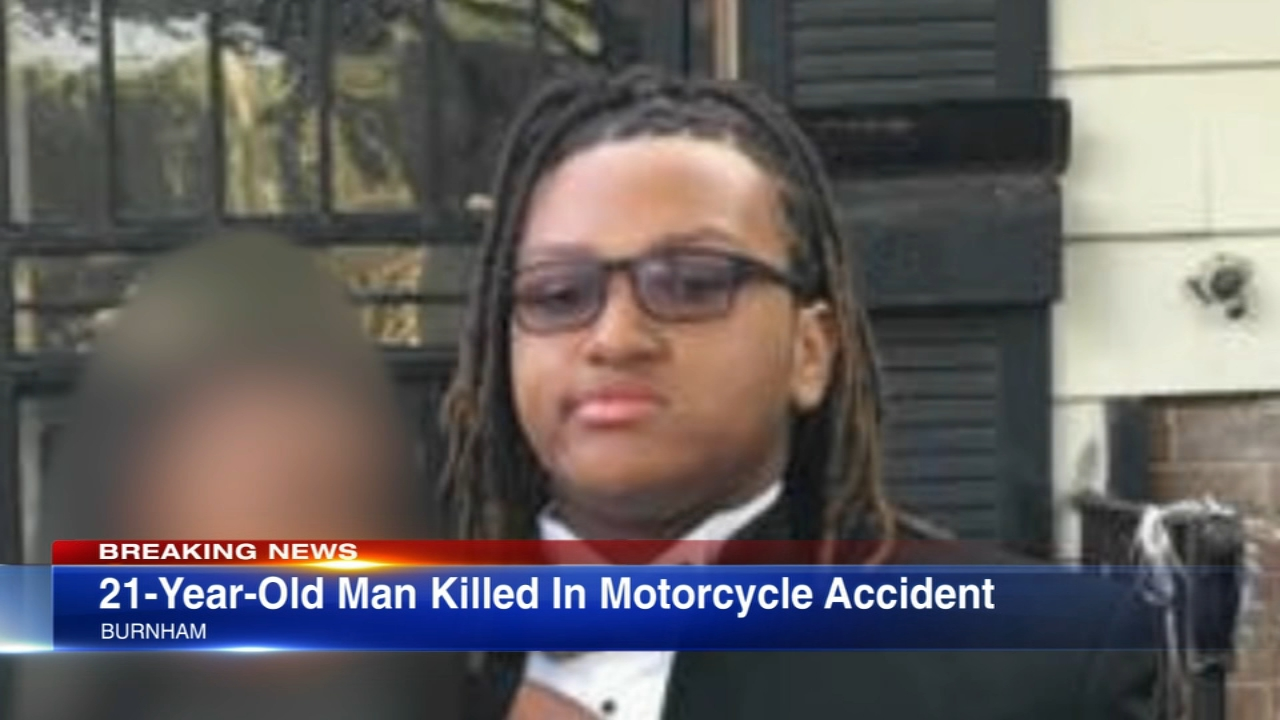 A 21-year-old father was killed in a crash between a motorcycle and car in south suburban Burnham Thursday morning.