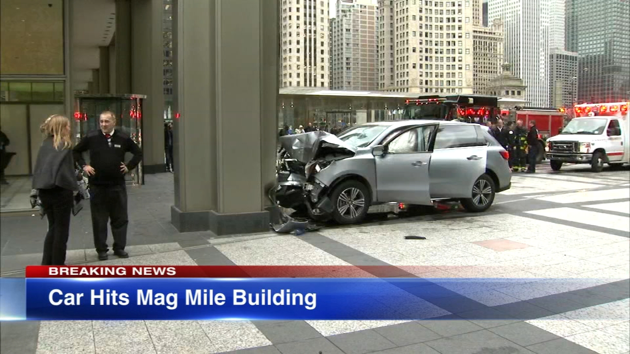 A car crashed into a building on Michigan Avenue Friday afternoon.