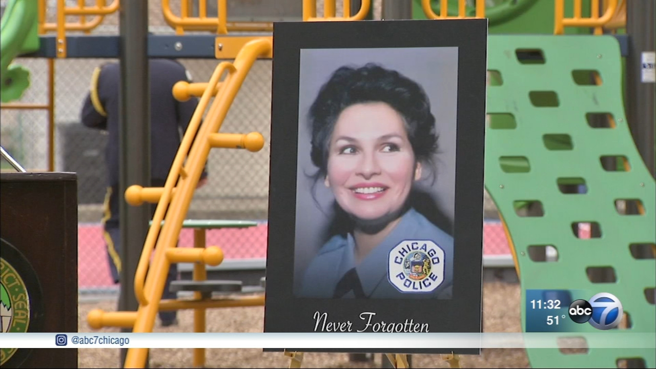 A Chicago police officer killed in the line of duty was honored Friday with a park renamed after her in the Archer Heights neighborhood.