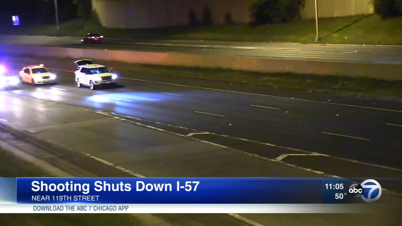 A shooting on I-57 in Calumet Park shut down the norhtbound lanes Friday morning.