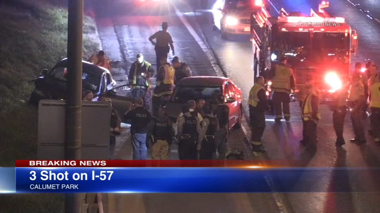 All northbound lanes of I-57 are closed at 127th Street after three people were shot on the expressway Monday night.