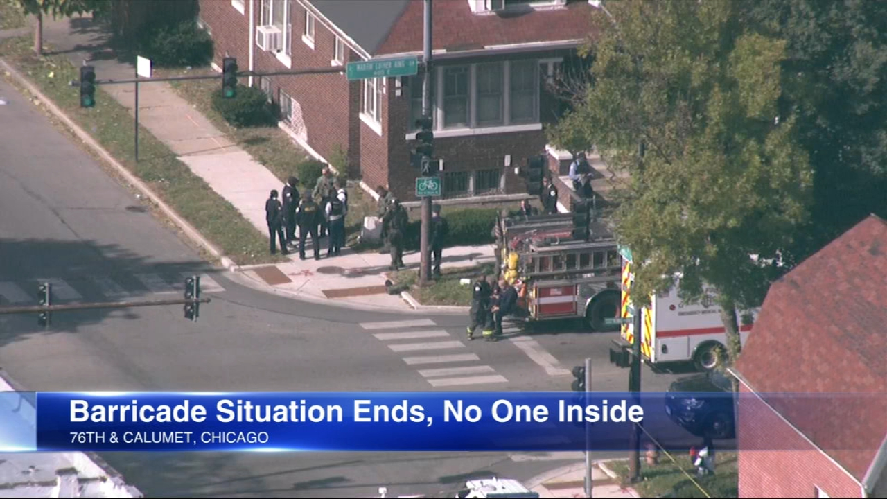 A SWAT team found a home on Chicagos South Side home empty Monday after reports that a man barricaded himself inside with a woman.