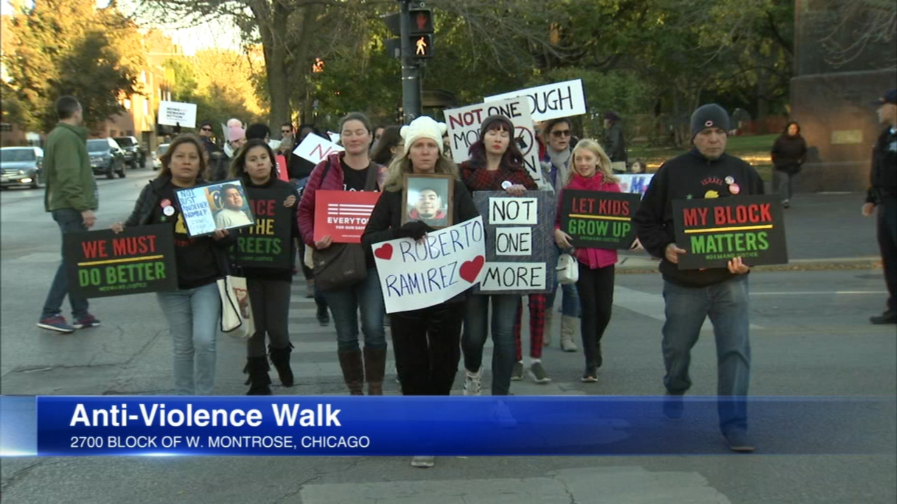 People on Chicagos Northwest Side marched to protest the gun violence Sunday.