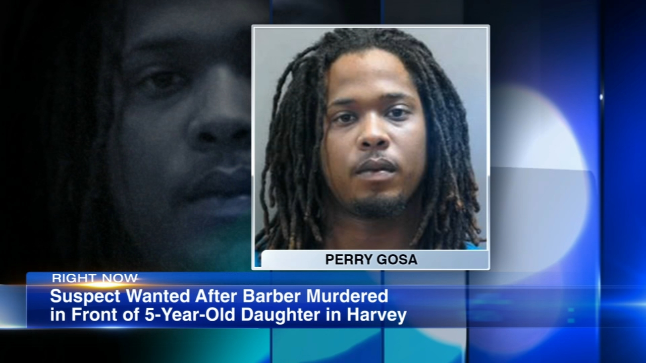 A Matteson man is wanted for murdering a Harvey man in front of his 5-year-old daughter, according to police.
