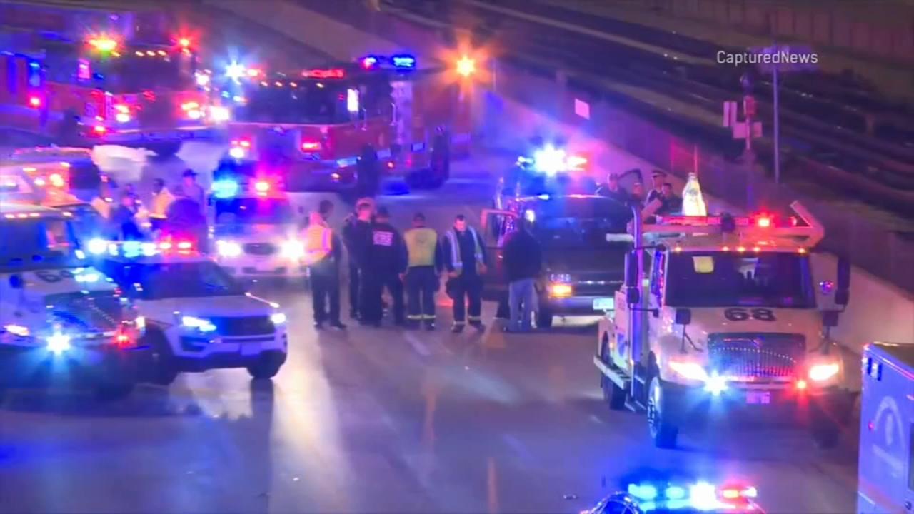Three people were injured in a shooting ont he Dan Ryan Expressway Monday morning.
