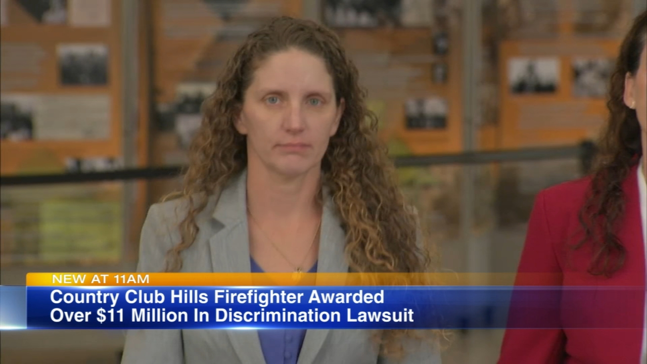 A jury awarded a female firefighter more than $11 million Monday after she sued Country Club Hills for discrimination.