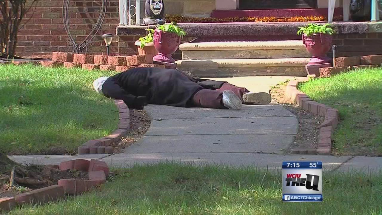 halloween dummy decoration in detroit scares neighbors | abc7chicago
