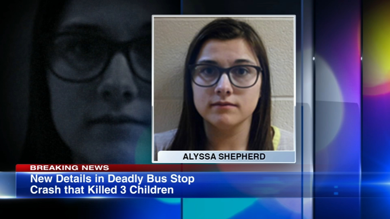 The woman charged in the deaths of three siblings struck and killed at a school bus stop Tuesday morning told police she saw the bus lights, but did not recognize it was a school b
