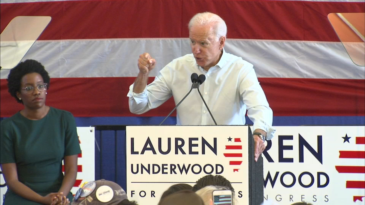 Former Vice President Joe Biden rallied with Lauren Underwood, who is looking to unseat Randy Hultgren in the 14th District congressional race.