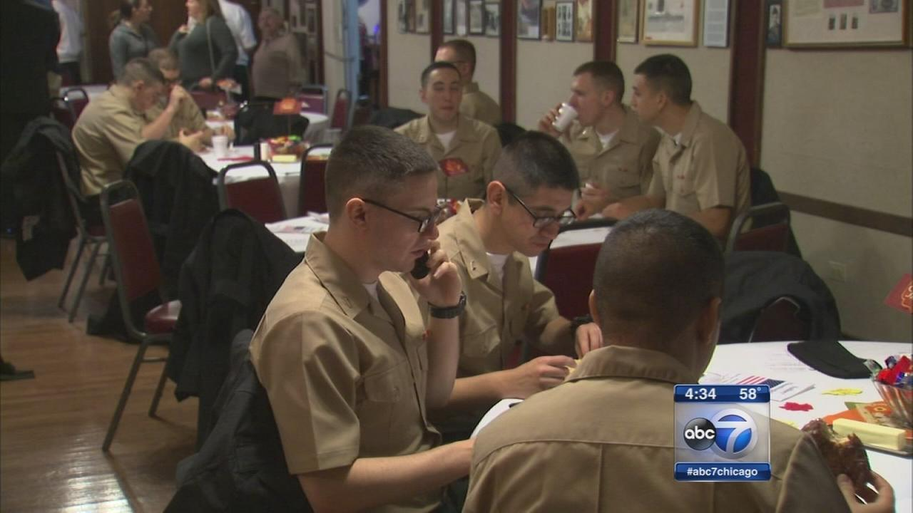 Naval recruits thankful for warm meal, phone call home